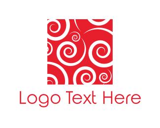 Wrought Iron - Red Spirals logo design