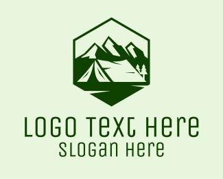 Camp - Mountain Camping Tent logo design