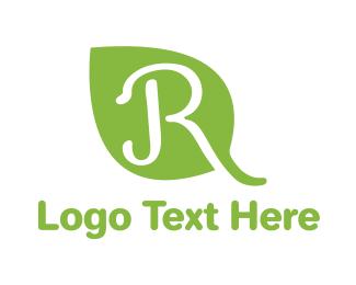Herb - Leaf R Outline logo design