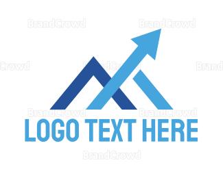 Air Travel - Blue M Arrow logo design