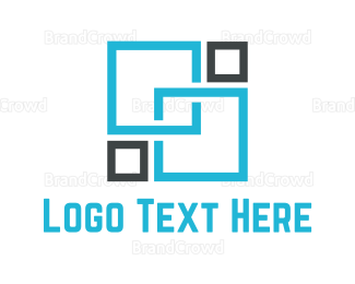 Memorable - Blue Squares logo design