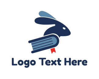 Bookstore - Rabbit Blue Book logo design