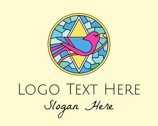 Color - Colorful Bird Stained Glass logo design