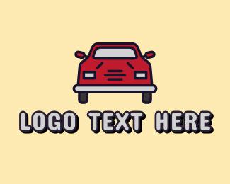 Driving - Red Car Driving logo design
