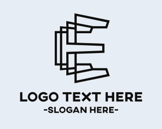 3d - Letter E Outlines logo design