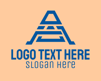 Aztec - Blue Tribal Letter A  logo design