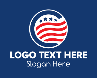 Waving - Stars and Stripes Badge  logo design