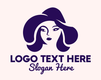 Hair Dye - Blue Woman Hat logo design