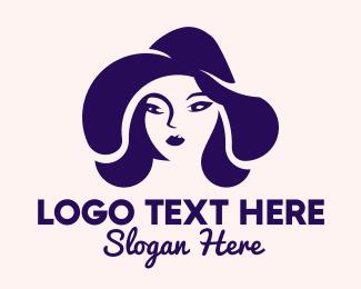 Hair Color - Blue Woman Hat logo design