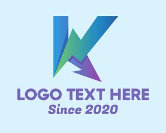 Booster - Gradient Electric Letter K logo design