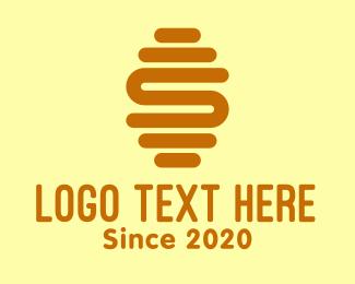 Bee Farm - Gold Letter S Hive  logo design