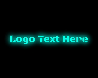 Neon Lights - Glowing Blue Text logo design
