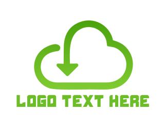 Upload - Download Cloud  logo design