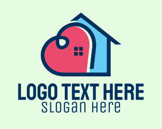 Stay At Home - Heart House Home logo design