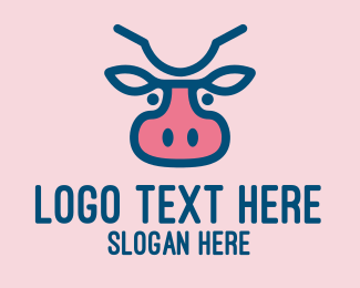 Dairy Farmer - Blue & Pink Cow logo design