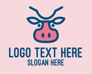 Dairy Farmer - Blue & Pink Cow logo design