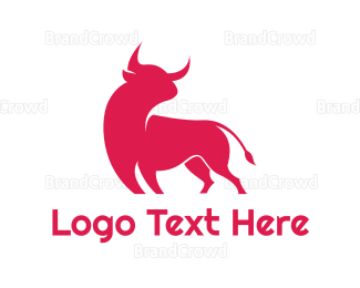 Cattle - Abstract Red Bull  logo design