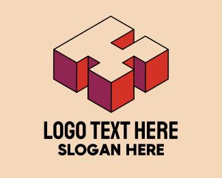 Pop Art - 3D Pixel Letter K logo design