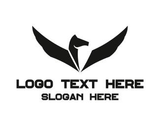 Unicorn - Black & White Pegasus logo design