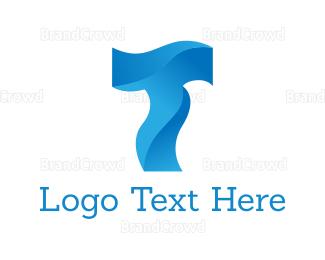 Flow - Liquid Letter T logo design
