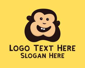 Laughing - Monkey Face logo design