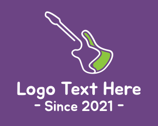 Guitar - Electric Guitar Monoline logo design