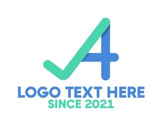 Verification - Checked Letter A logo design