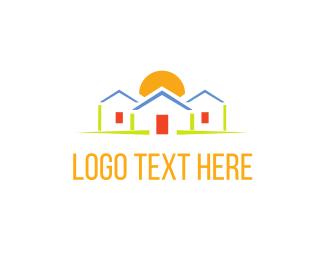 Dawn - Houses & Sunrise logo design