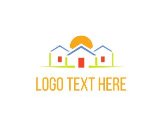 Sunset - Houses & Sunrise logo design