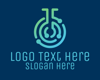 Maze - Modern Lab Flask Maze  logo design
