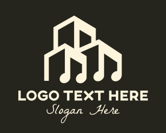 Musical Note Building Logo