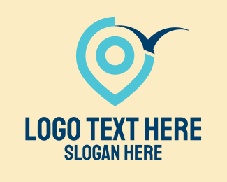 Location Service - Blue Bird Pin Locator logo design