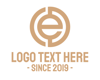 Tan - Coin E Outline logo design