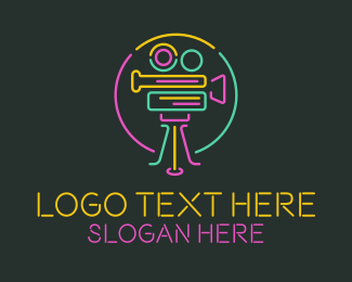 Coverage - Neon Retro Movie Camera logo design
