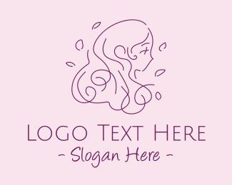 Haircut - Minimalist Hair Salon Lady  logo design