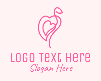 Egret - Pink Flamingo Heart logo design