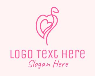 Flamingo - Pink Flamingo Heart logo design