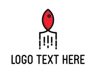 Salmon - Rocket Salmon logo design
