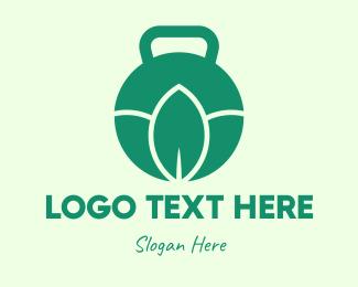Healthy Lifestyle - Green Natural Kettlebell logo design
