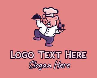 Sommelier - Happy Pig Restaurant  logo design