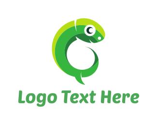 Green Lizard - Green Tadpole logo design