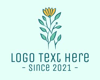 Green And Yellow - Yellow Garden Flower logo design