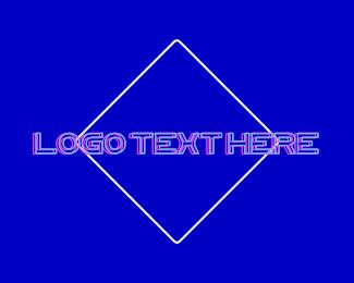 Las Vegas - Blue DJ Neon Vaporwave logo design