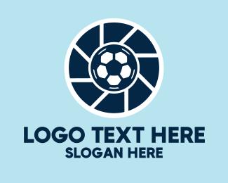Sports Photographer - Soccer Ball Camera Shutter  logo design