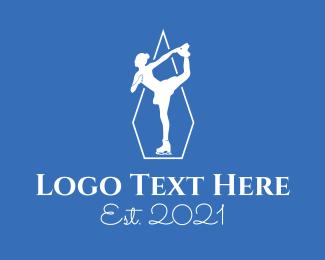 Skate - White Figure Skater logo design