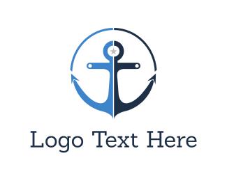 Boating - Blue Anchor  logo design