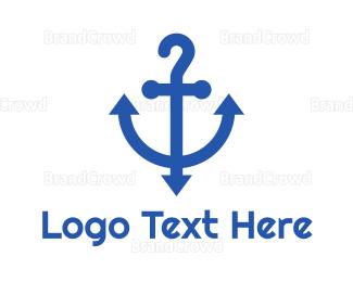 Marine - Blue Question Anchor logo design