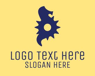 Underwater - Cog Seahorse  logo design