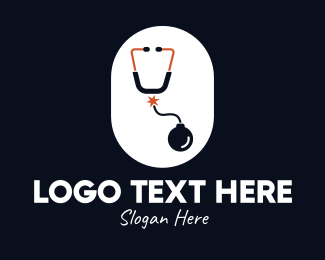 Firebomb - Bomb Stethoscope logo design