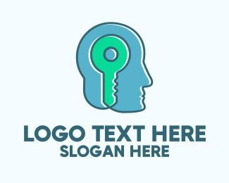 Locked - Psychology Mind Key logo design
